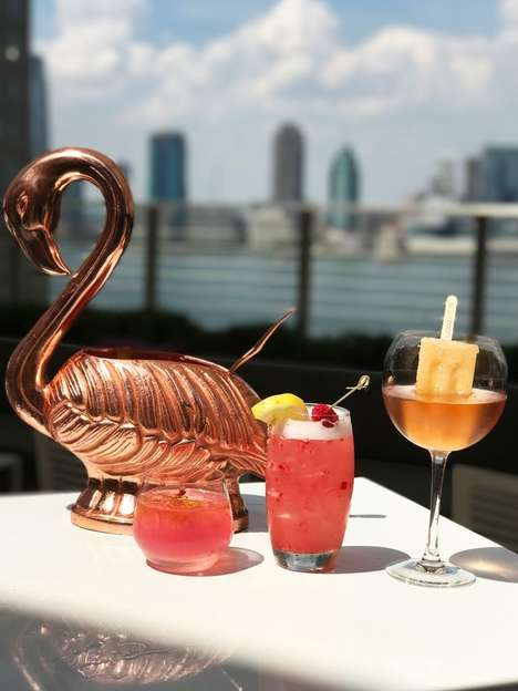 Flamingo-Shaped Cocktail Cups - NYC's Loopy Doopy Rooftop Bar Serves Punch in a Giant Flamingo