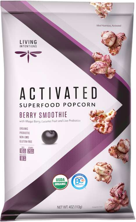 Smoothie-Inspired Popcorn Snacks - Living Intentions' Berry Smoothie Popcorn Boasts Live Probiotics