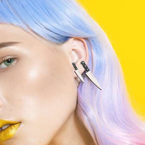 Chef's Knife Earring Accessories - These Earrings from The Plastik Store are Cooking-Inspired