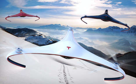 Tricopter Car Brand Drones - The Conceptual Tesla Aurora Drone Can Operate Autonomously