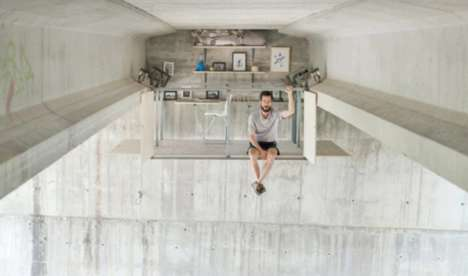 Suspended Pop-Up Work Spaces - This Secret Work Space Hangs from a Concrete Bridge