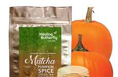 Spiced Pumpkin Matcha Powders - Healing Butterfly's Flavored Matcha Comes in a Pumpkin Spice Flavor