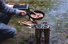 Burning Log BBQs - The Sportes MITI-001 Firewood Barbecue is Placed on a Burning Log
