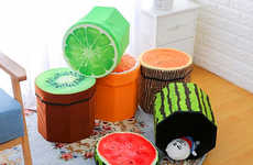 Fruity Home Storage Stools - The Geartist GOO5 Folding Storage Organizer Works as a Box and a Stool