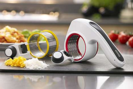 Streamlined Kitchen Graters - The ZYLISS Rotary Cheese Grater Instantly Grates Cheeses and Butter