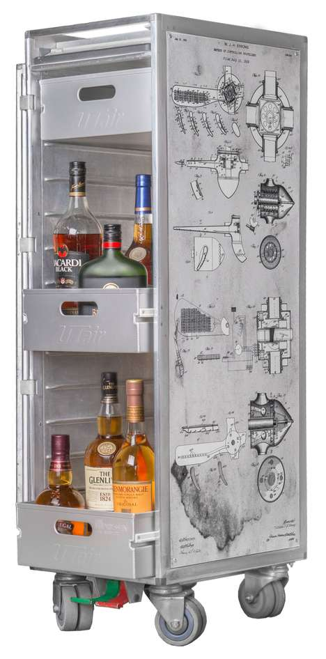 Airplane Trolley Minibars - STEEL FUNK Upcycles Real Avation Meal Trolleys Into Drink Carts