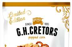 Hybrid Fall Popcorn Snacks - The G.H. Cretors Salted Caramel Popped Corn With Pretzels is Savory