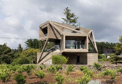 Braced Volumetric Homes - Moon Hoon's Home Design Features Exposed Angular Supports