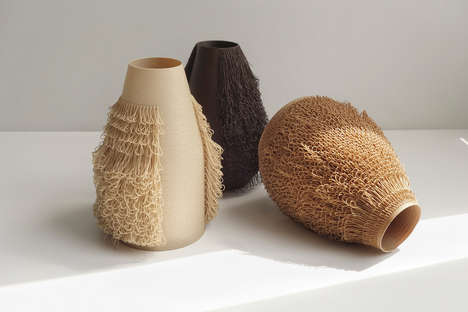 Hair-Implanted Vase Collections - 'Poilu Vases' Feature Artificial Hair to Create a Dynamic Texture