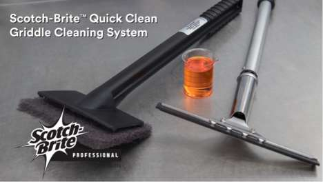 Speedy Griddle Cleaning Systems - The 3M Scotch-Brite Quick Clean System Cuts Griddle Cleaning Time