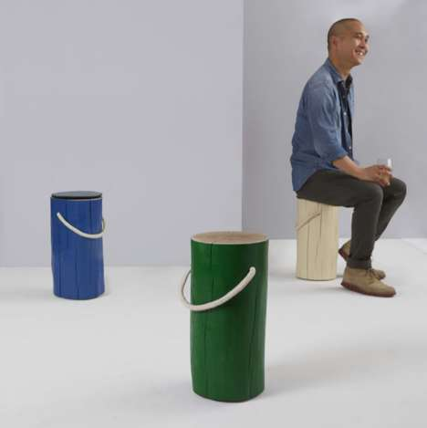 Painted Oak Stools - The MoMA Stores' Seating is Made From Sustainably Harvested Oak