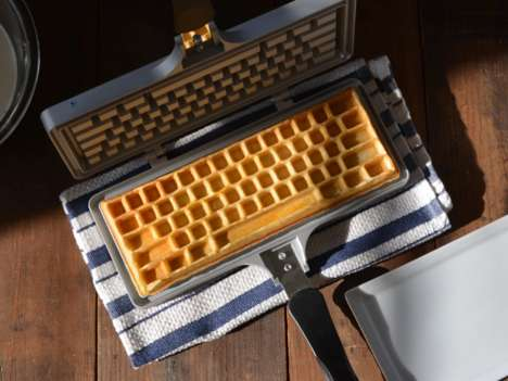 Keyboard-Shaped Waffle Makers - 'The Keyboard Waffle Iron' Invites You to Play with Your Food