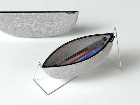 Swinging Pencil Cases - A Modern Pencil Case and Stand Have Been Modelled on the Form of a Hammock