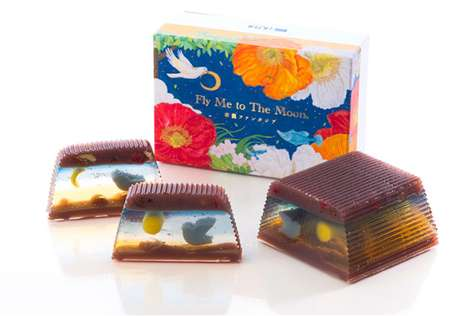 Scenic Jelly Desserts - Nagatoya's 'Fly Me to the Moon' Can Be Sliced to Reveal Different Scenes