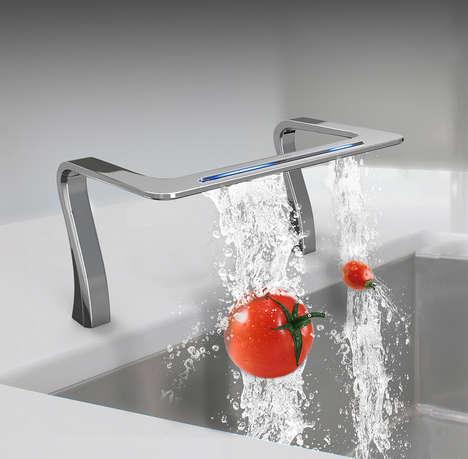Futuristic Waterfall-Inspired Sinks