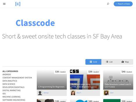 Professional Workshop Marketplaces - Startup ClassCode Helps You Find Short Tech Classes Online