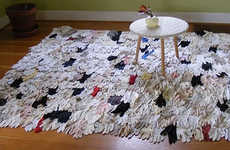 Rugs Made of Gloves - 'A Proper Lady' Eco Mat Made From Vintage Accessories