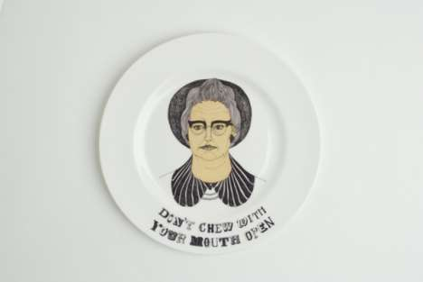 Etiquette Dishware - Emma Houlston's Illustrated China Plates Feature Comic Tips on Comportment