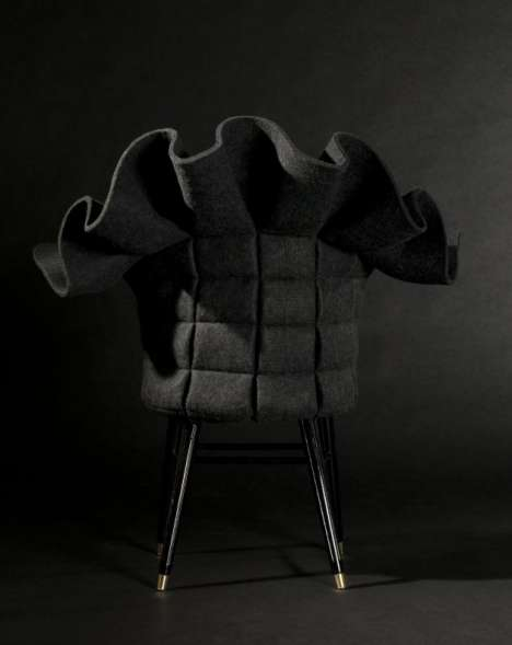 Ruffle-Topped Felt Chairs by Fredrik Farg