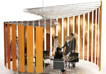 Spiral-Shaped Office Space Is a Room-Within-A-Room