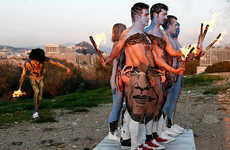 Moving Presidential Body Paint - Group Illusion Reveals Obama's Face From the Proper Angle