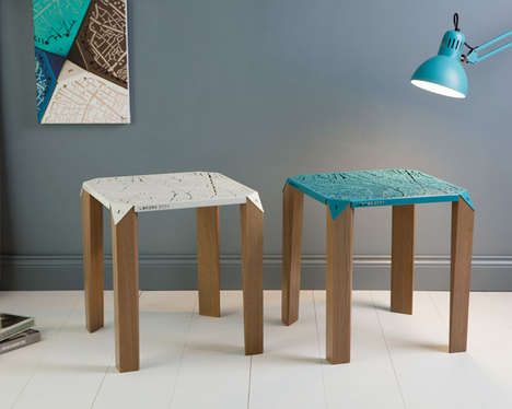 Urban-Imprinted Metal Tables - 'Map on Table' Laser Cuts City Maps onto the Table's Surface