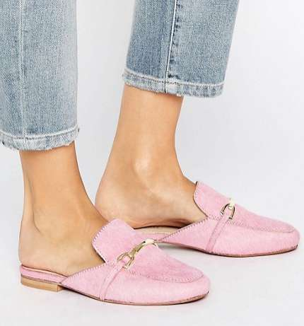 Millenial Pink Loafer Mules - The ASOS MOVIE Pink Leather Mule Loafers are Versatile and Stylish