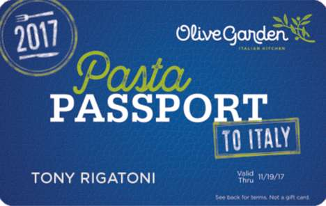 Travel-Ready Pasta Passes - Olive Garden's Pasta Passport Provides Access to an All-Inclusive Trip