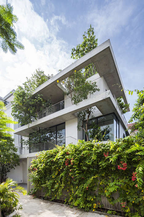 Tree-Filled Concrete Homes - 'Stacked Planters House' is Literally Filled With Trees