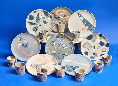 Pressure-Pounded Dishware - Granby Workshop's 'Splatware' is Created Using an 11,000-Pound Press