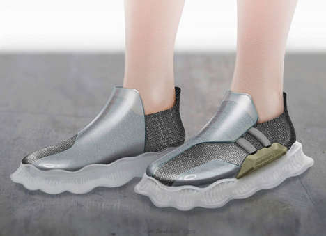 Conceptual Soft Robotic Shoes - Sneaker-Creepers are Filled with Movable Gas or Liquid