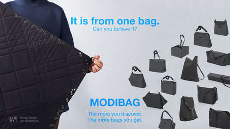 Infinitely Foldable Fabric Bags - The 'MODIBAG' Transforms into Numerous Designs Whenever Desired