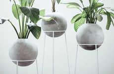 Orbed Concrete Planters