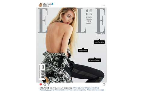 Social Media-Style Magazine Covers - This Elle Russia October Cover is Styled Like an Instagram Post