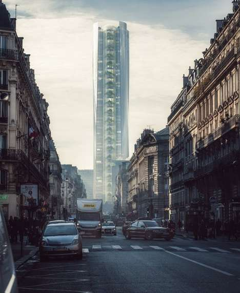 Reflective Skyscraper Concepts - The 'Mirage' Building Reflects An Upside Down Image Of Paris