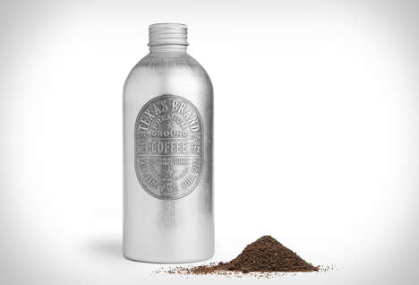 Canteen Coffee Packaging - Texas Brand Coffee by Nº 4 St. James Comes in a French Aluminum Bottle