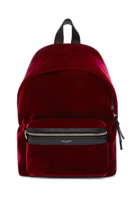 Luxe Red Velvet Backpacks - Saint Laurant Introduced a Red Velvet Mini Backpack