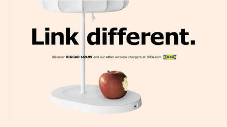 Referential Charging Accessory Ads - IKEA's Wireless Charging Lamp Ads Make Reference to Apple