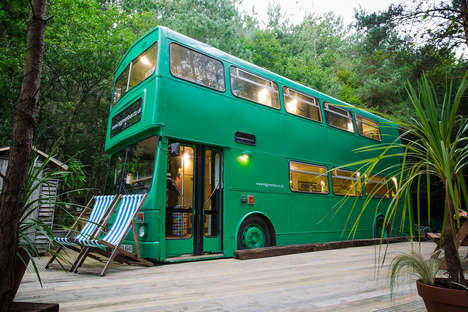 Converted Bus Accommodations - The Big Green Bus Hotel Offers a Charming Glamping Experience