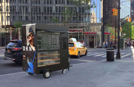 Branded Advertising Coffee Carts - The Show Media Mobile Cafe Offers Beverages and Promotes Brands
