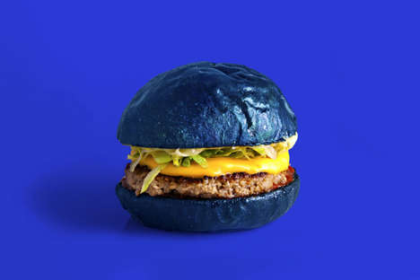 Restaurant-Honoring Blue Burgers - This Blue Hamburger Pair Features 'Colette Blue' Burger Buns