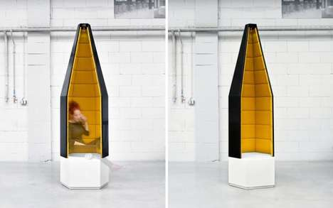 Office Isolation Cubbies - The AMOS DESIGN Santini Quiet Point Offers Isolation in Public Areas