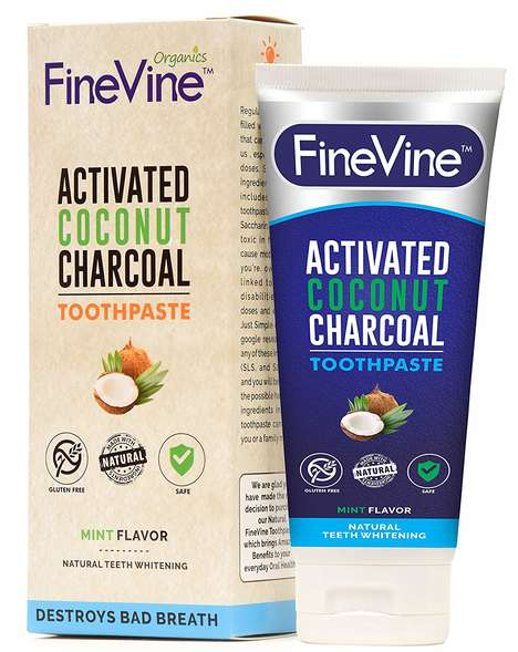Coconut Oil Charcoal Toothpastes - The FineVine Organics Activated Charcoal Toothpaste is Natural