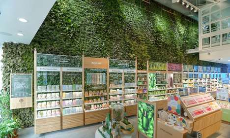 Store-Based Living Plant Walls - Innisfree's Union Square Location Houses 10,000 Types of Plants