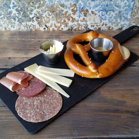 Pretzel Tasting Platters - Toronto's Stadt Cafe Serves a German Pretzel Platter with Meat and Cheese