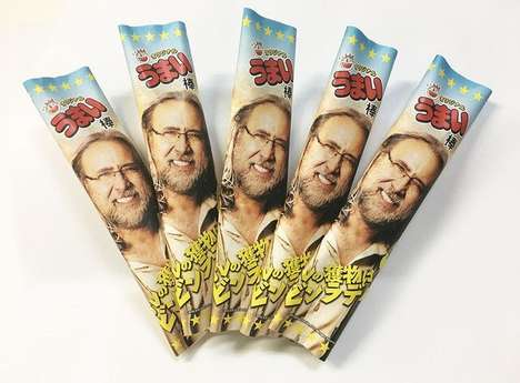 Celebrity-Themed Japanese Snacks - Umaibo Nicolasticks are Branded With Nic Cage's Visage