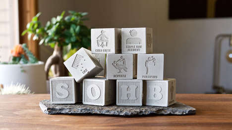 Mature Adult Building Blocks - The 'School of Hard Blocks' Alphabet Blocks are Humorous