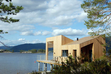 Lakeside Micro Cabins - The Nisser Micro Cabin is Covered in a Blond Timber Facade