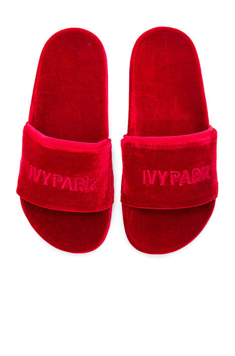 Velvet Songstress Slides - Beyonce's Newest Ivy Park Collection Features Red Velvet Slippers