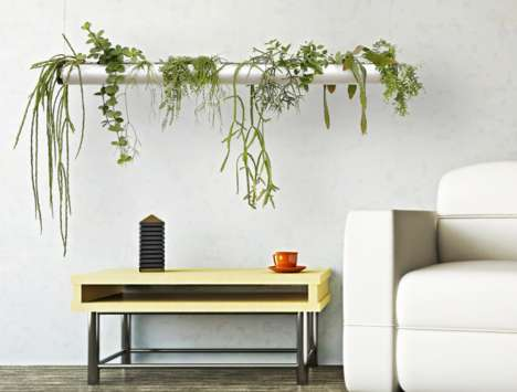 Pipe-Like Hanging Planters - An Indoor Floating Garden Lets Greenery Contribute to the Architecture